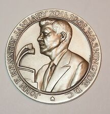 "John F Kennedy Silver plate 2"" Commemorative Medallion JFK Vintage made in Italy"