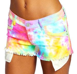 Mujer-Shorts-vaqueros-Neon-Brillante-Muy-Cortos-Talla-6-8-10-12-14