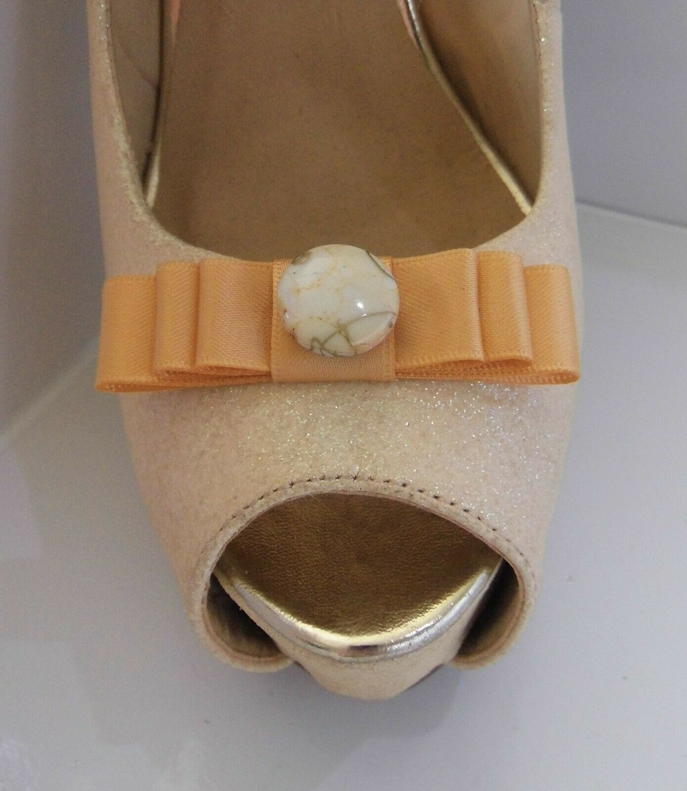 2 Small Peach Bow Clips for Shoes with Marble Style Button Centre