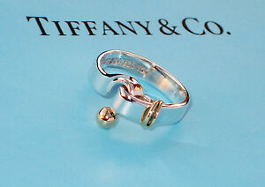 0216f8768 Tiffany & Co 18K 18Ct Gold & Sterling Silver 925 Hook & Eye Ring | eBay