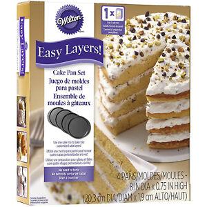 Wilton-4Pc-Easy-Layers-8-Inch-Round-Tier-Cake-Baking-Tin-Pan-Wedding-Decorating