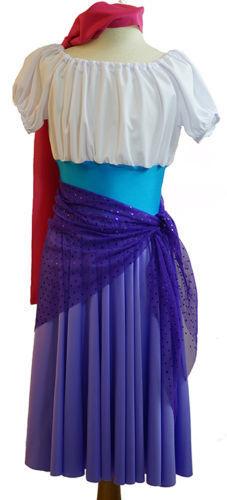 DANCE-Panto-SHOW-GOBBO DI NOTRE DAME ESMERALDA Gypsy Ragazza Costume Outfit