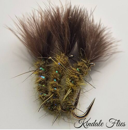 Set of 3 Olive Cdc Holo Suspender Buzzer Size 10 Fly Fishing Flies Trout