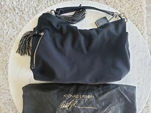 475-Donald-J-Pliner-Black-Crepe-Elas-Croc-Patent-Leather-Tassel-Bag-Yeva4-D66