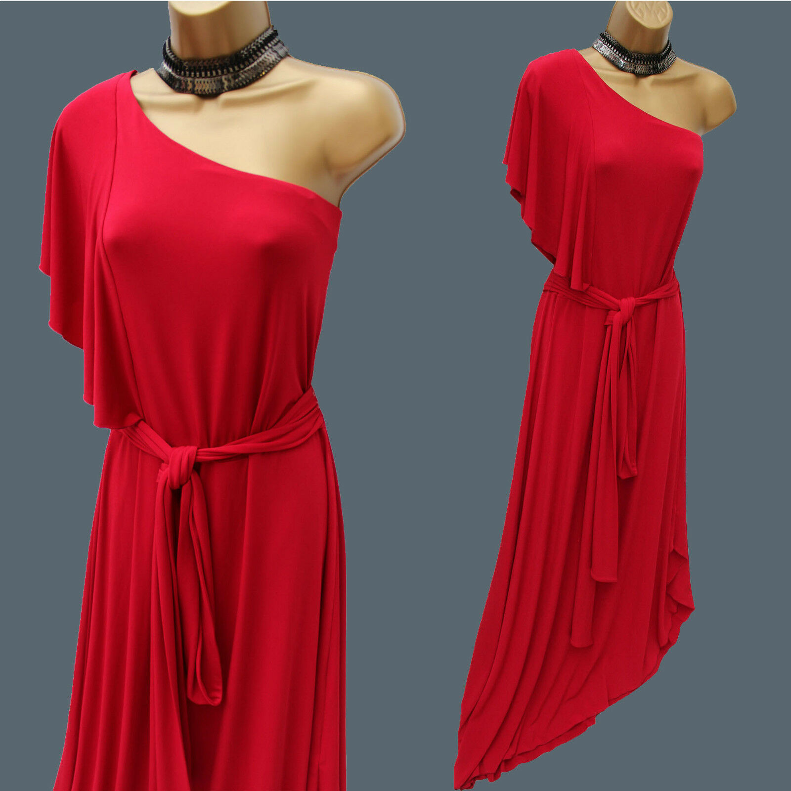 Next Signature Glam Bardot Jersey Red One Shoulder Long Ballgown Maxi Dress 12UK