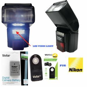 DEDICATED-LED-FLASH-LED-LIGHT-REMOTE-EN-EL14-BATTERY-FOR-NIKON-D3500-DSLR