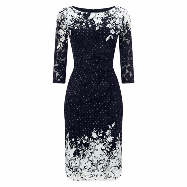 Phase Eight Elodie Placement Dress Navy/White Size UK 8 LF171 NN 06
