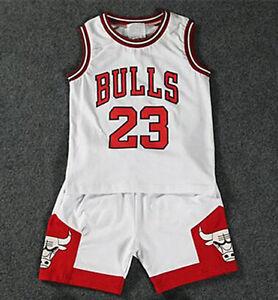 b00d843afe1304 HOT Kids Baby Boys Girls  23 Michael Jordan Bulls Basketball Jerseys Short  Suits