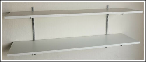 Wandregal 50cm hoch 2 Ablagen 120x30 Holz Dekor weiss //Stahl ELEMENT in 2 Farben