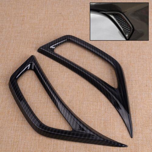 2X Carbon Fiber Style Side Leaf Plate Air Inlet Trim Fit For Jeep Wrangler JL ht