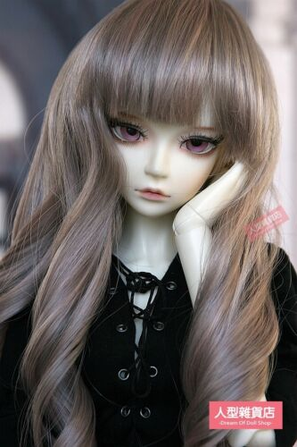 BJD Doll 1//3 8-9 Wig Long Wave Hair Straight Bangs for Girl Grey Pink