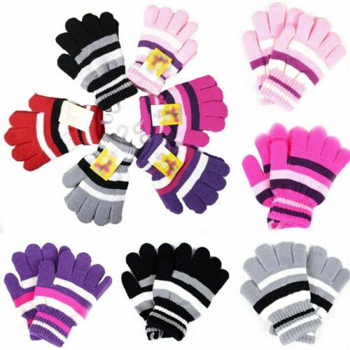 Winter Warm Gloves Girl Boy Kids Magic Gloves /& Mittens 6Color Knitted Stre D8O5