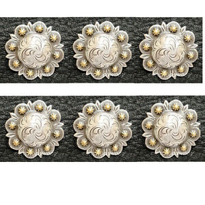 """Set of 6 WESTERN HORSE SADDLE TACK ANTIQUE HEART BERRY CONCHOS 1-1//2/"""" screw back"""