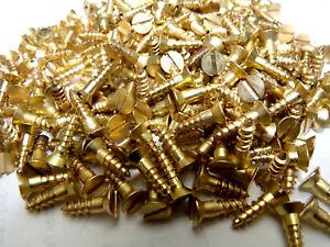 """Qty 100 #10 x 1-1//2/"""" Brass Slotted Flat Head Wood Screw"""