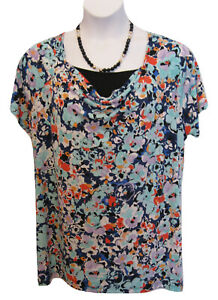 Draped Cowl Neck Top Plus Size 2X 18W 20W Shirt Aqua Knit Floral George Career
