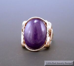 14 k Gold Filled Purple Jade Cabochon Wire Wrapped Ring