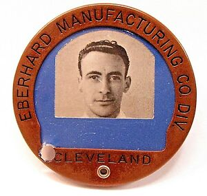 1940's WWII EBERHARD MFG. CO. DIV. CLEVELAND employee badge pinback home front +