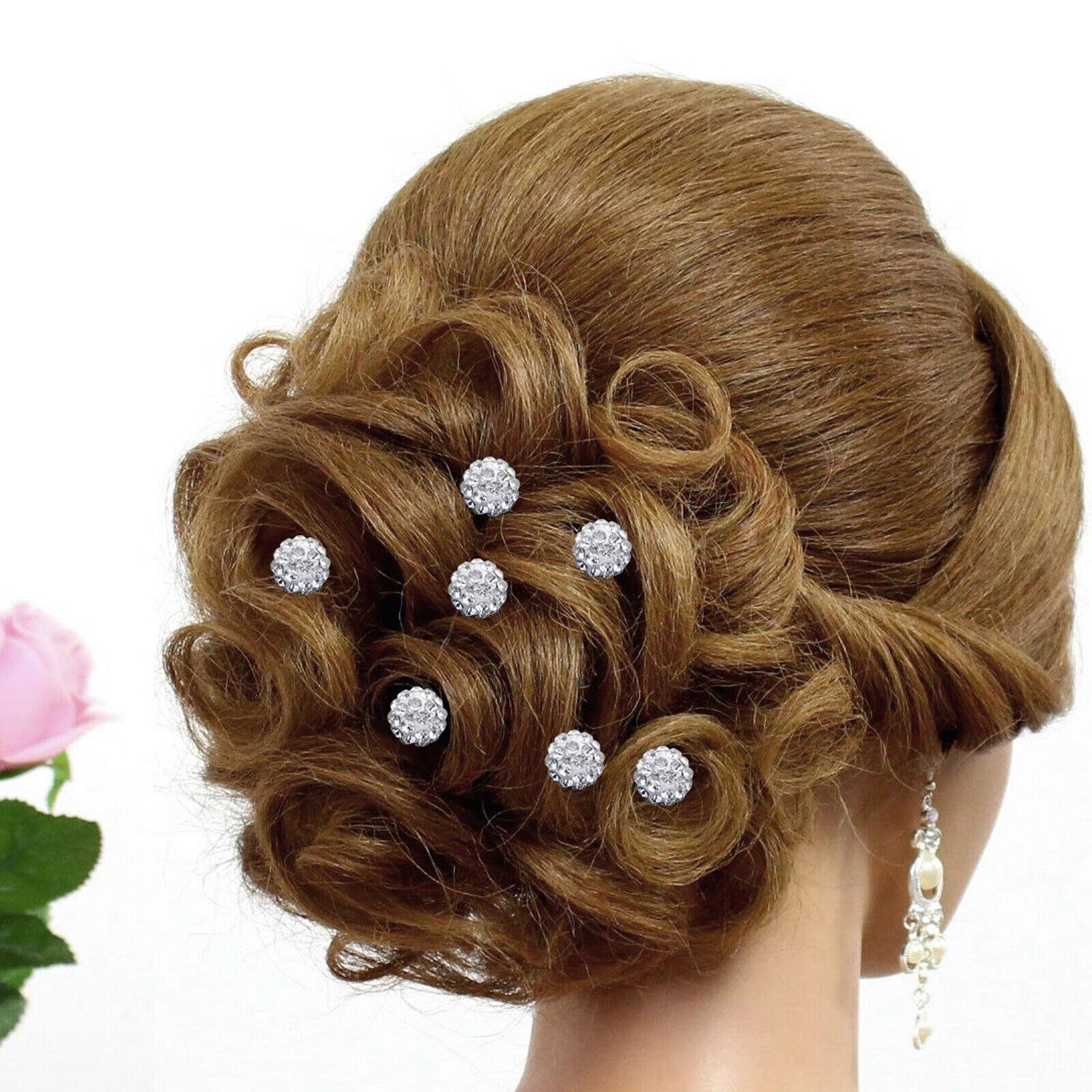 10X Flower Wedding Hair Pins Crystal Diamante Bridesmaid Pearls Bridal Grips UK