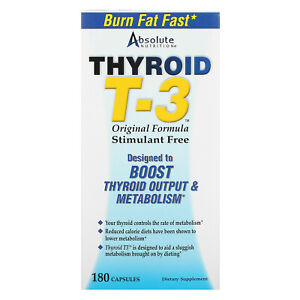 Absolute Nutrition Thyroid T-3 Original Formula 180 Capsules Caffeine-Free &