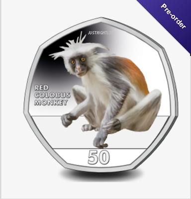 2018 Gibraltar Primates 50p Coin Series 3rd Coin Red Colobus Monkey