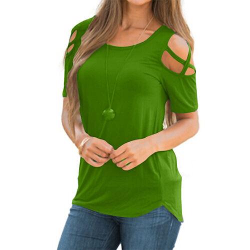 Damen Schulterfrei Bluse T Shirt Longshirt Tops Oberteil Sommer Übergroße 34-50