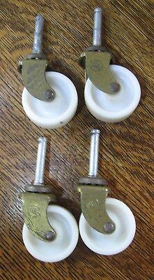"Antiques Dutiful Vintage Furniture Casters X4 Assick 3 1/2"" Magnetic Metal Plastic Swivel Wheels"