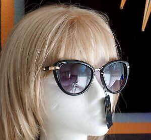 650b539a2e23 19V69 ITALIA LUCIANA Black Frame Cat Eye Sunglasses GOLD VERSACE1969 ...