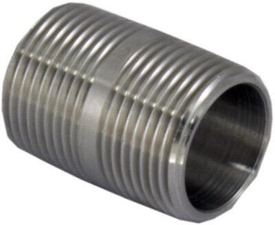 """Closed Nipple 1/2"""" Male NPT Fitting Stainless Steel Pipe Biodiesel Beer Water"""