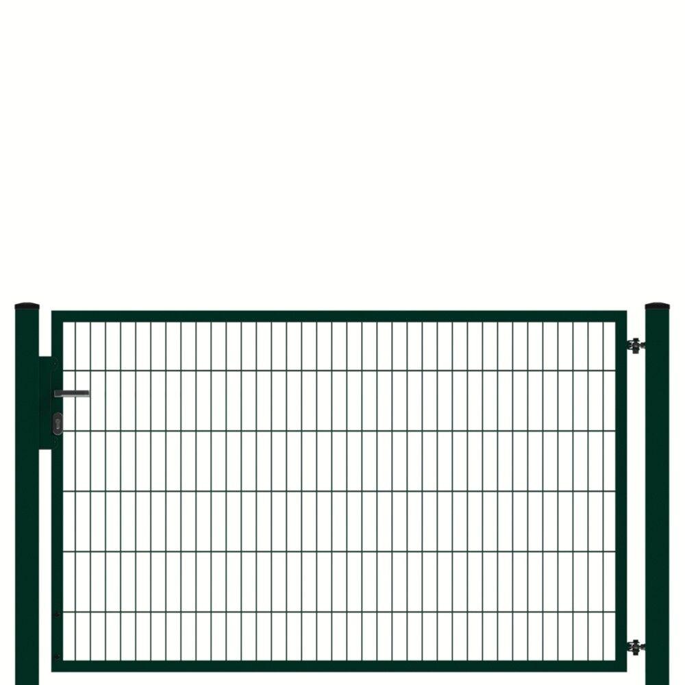 Gartentor PROFI 1-flg. B=2000mm RAL6005 Doppelstabmattenzaun Doppelstabtor Tor