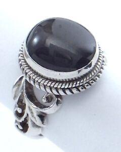 Vintage-Women-Ladies-Size-6-25-US-Round-Black-Stone-Sterling-Silver-Ring-G677