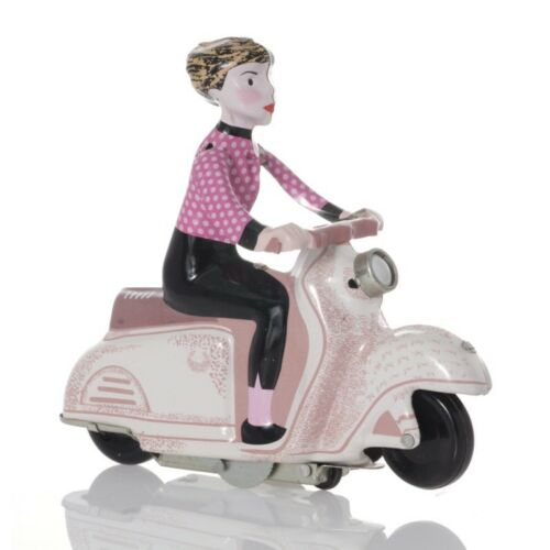 lila Motorroller aus Blech mit Uhrwerk-Antrieb Scooter Girl