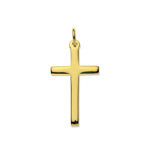 9ct Oro Amarillo Sólido Mediano Liso Cruz Y Cadena 32x19mm Calidad UK 375 HM
