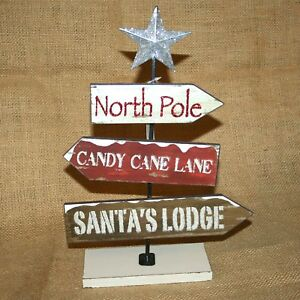 Table-Top-Sign-North-Pole-Santa-034-s-Lodge-Candy-Cane-Lane-Christmas-Decor