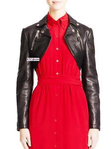 NOORA Women/'s100/% Genuine Lambskin Leather Crop Moto Bolero Shrug Biker Jacket