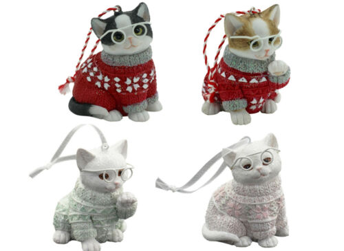 Cat Christmas Hanging Ornament Set of 4 Approx 6cm H