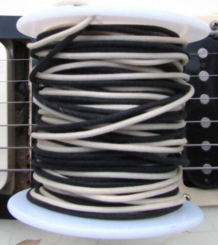"""50 ft/"""" Vintage Style Cloth Push Back 22 ga Guitar Wire Black /& White Tinned"""