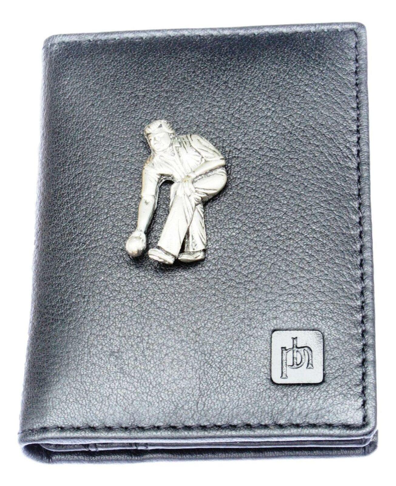 Bowler Pewter Bifold Card Holder Leather Black Wallet RFID Safe 39