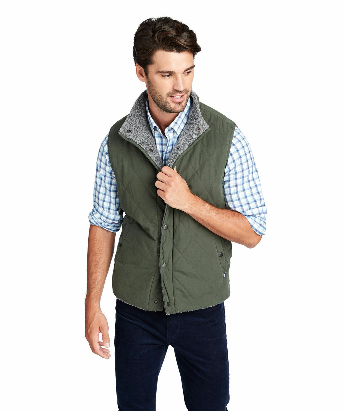New Tags  Men's VINEYARD VINES Canvas Sherpa Reversible Heritage Vest SZ-XL