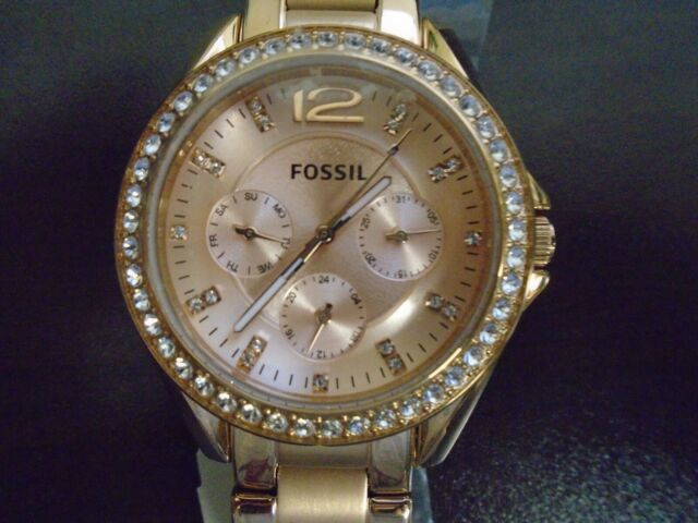 Fossil Women Stainless Steel Watch ES2811 Riley Multifunction Crystal Pink Gold