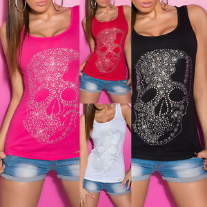 sexy damen tank top neu totenkopf skull t shirt strass party outfit 34 36 38 ebay. Black Bedroom Furniture Sets. Home Design Ideas