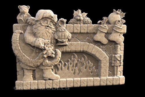 3D STL Models for CNC Router Engraver Carving Artcam Aspire Santa Claus 1466