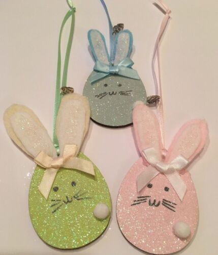 3 x Lapin de Pâques printemps Suspendu Décorations fait main en bois véritable feutre pastels
