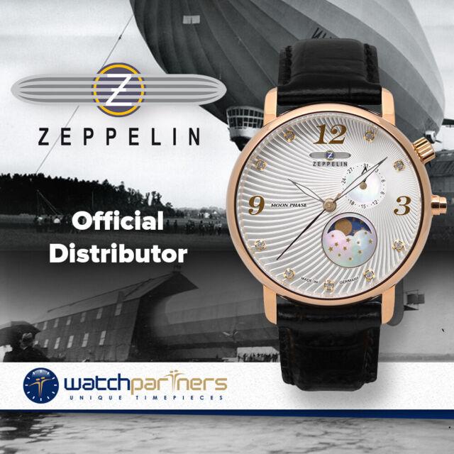 ZEPPELIN LUNA Ladies watch Swiss Quartz 35mm case Moon Phase Silv dial 7639-4