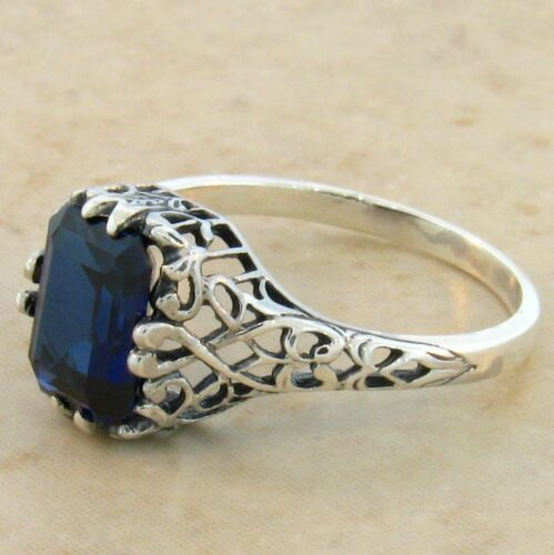 ROYAL BLUE LAB SAPPHIRE .925 STERLING SILVER ANTIQUE DESIGN RING #718