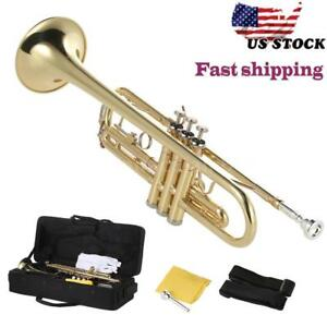 NEW-Trumpet-Bb-B-Flat-Brass-Gold-with-Mouthpiece-Strap-Gloves-Case-for-Beginner