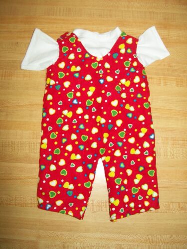 """WHITE TEE+RED HEART CORD ROMPER OVERALLS for 15/"""" 16/"""" CPK Cabbage Patch Kids"""