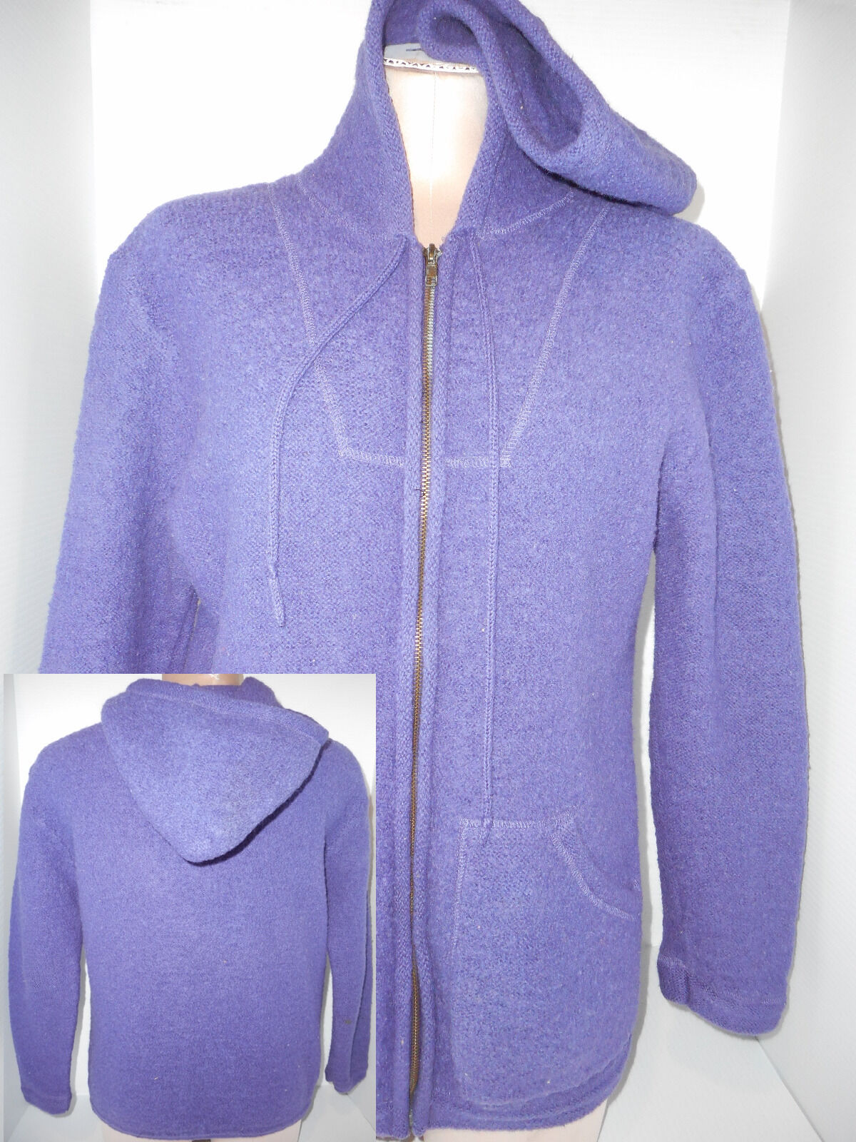 GALLAGHER Full Zip Front Womens Hoodie Sweater Size S Small Purple Wool