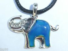 NEW Elephant Mood Rhinestone Necklace Color Change Pendant Necklace