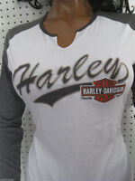 Harley Davidson V-notch Gray/white Jersey Style Long Sleeve Tee Shirt Top