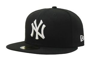 New-Era-59Fifty-Hat-MLB-New-York-Yankees-Mens-Adult-Fitted-5950-Cap-Black-White